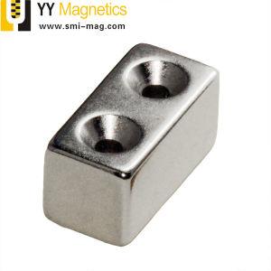 Bloque de neodimio Imanes con agujero avellanador de M5
