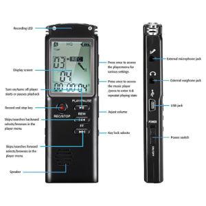 4 Go de Voice Recorder Dictaphone professionnel USB 48heures avec l'enregistreur vocal numérique audio Wav, MP3 Player