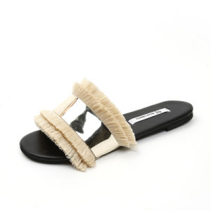 Womens Fringe glands imitation cuir velours Sandales plates de l'été les chaussures de plage