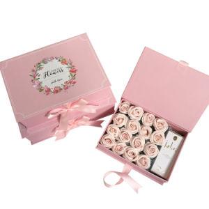 주문 호화스러운 도매 정연한 매트 까만 엄밀한 서류상 마분지 로즈 꽃 모자 뚜껑을%s 가진 포장 선물 꽃 상자