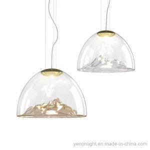 Pendente de vidro de prata dourada luminosa da lâmpada de iluminação do pendente de vidro