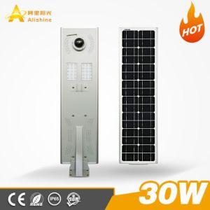Neuer Entwurf mit WiFi Kamera 30W alle in einem integrierten Solarstraßenlaterne30-100W