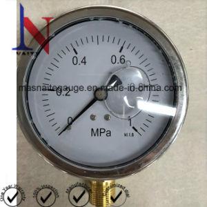 100mm 1MPa glicerina preenchido Moldura cravada rosca de latão Medidor de Pressão