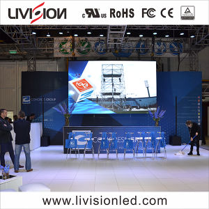 Visor LED P3.9 HD no interior do painel de parede de vídeo do evento
