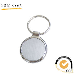 Chave de liga de zinco quadrada em branco com chapeamento de prata Matt Ym1002