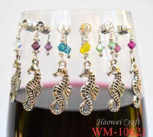 Het Zeepaardje van het Ontwerp van Lastest, de Charme van het Glas van de Wijn dat van de Legering van het Zink wordt gemaakt en Kristal (wm-10621)
