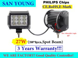 Indicatore luminoso 4inch del lavoro dell'indicatore luminoso 27W LED dell'automobile del LED fuori dalla strada