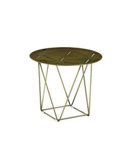 Round mesa lateral mesa de café de metal com acabamento em bronze