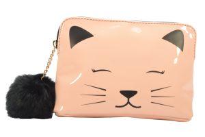 Lady Fashion sac cosmétique avec Cat peinture Pompom