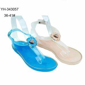 Or Clip Lipping Mesdames Jelly Chaussures Toe sandales en PVC avec fleur