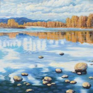 Pittura a olio di paesaggio del lago landscape di caduta di autunno