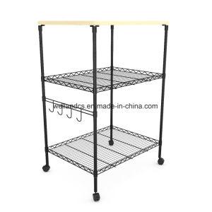 Mobiliario de casa profesional 3 niveles de almacenamiento de la cocina de acero rodante Carro de compras