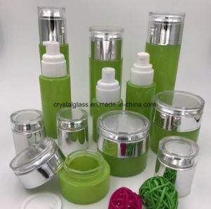 A pulverização garrafa de vidro de cosméticos de cor creme Copo com tampa