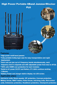 Portátil de alta potencia de RF de la banda de 6Jammer/Blocker, Sistema Jammer portátil, RF Jammer todo teléfono móvil 3G/2G (GSM/CDMA/DCS) /4glte/Wi-Fi2.4G