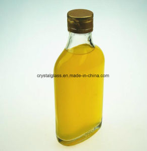 Flache Glasalkohol-Flasche des Kolben-200ml mit Goldkappe