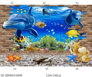 세륨 승인을%s 가진 지면 벽을%s 2018년 Foshan 새로운 패턴 사기그릇 3D 대양 벽 도와