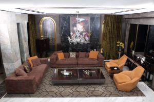 El italiano de gama alta Villa Chesterfield sofás de cuero gamuza completo