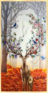 Pintura de esmalte decoração artesanato personalizado para decoração de hotel