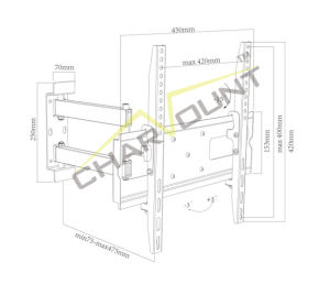 유니버설 26의  - 55의  스크린 (CT-WPLB-801E)를 위한 조정가능한 LCD 텔레비젼 벽 마운트