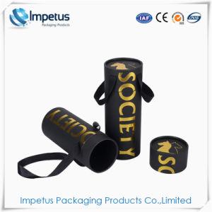 L'estampage à chaud de haute qualité teint noir cristal cadeaux Emballage papier autour du tube avec poignée de ruban