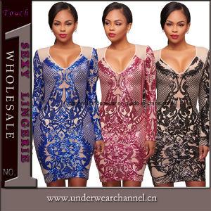 Plus la taille des paillettes cocktail robe de soirée Prom (TOSM brodé5223)