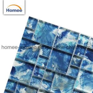 Auf lagerhandlack-Quadrat-Kunst-Muster-Mischungs-blaues preiswertes Glaskristallmosaik