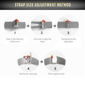 Aço inoxidável mecânica automática relógio de pulso para homens 72956