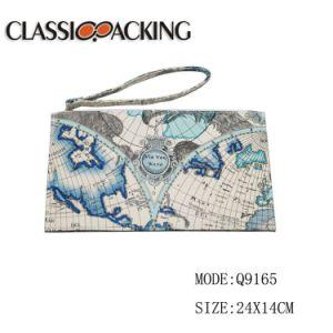 Fermeture à glissière de haute qualité de promotion de la mode sac cosmétique avec la carte de l'impression