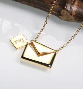Collana aperta dell'argento sterlina della busta 925 della lettera di amore del biglietto di S. Valentino