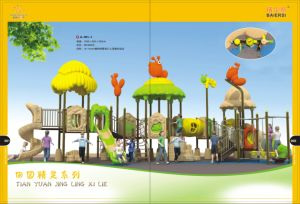 Nuevo diseño de juegos al aire libre Equipo plástico tobogán para niños, niñas y niños (un-084-1)