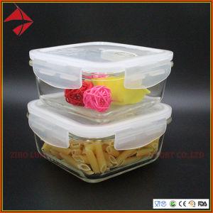 Vacío de vidrio de borosilicato para almacenamiento de alimentos el recipiente con tapa de bloqueo