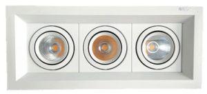 引込められた正方形LED Downlightの穂軸の点ライト2X12W (二重ヘッド)