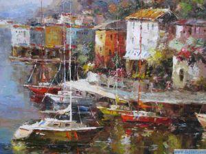 Olie schilderij-1 van het zeegezicht