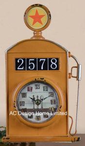 Decoración Vintage roja de Antigüedades de la bomba de gas de metal de forma de reloj de mesa