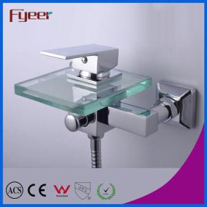 Fyeer Single Handle Bathroom Waterfall Glass Bath Faucet con Diverer