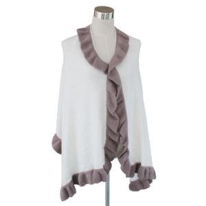 Fashion Acrylic Knitted Ruffleの女性トリムのスカーフの覆いのショール(YKY4158B-2)