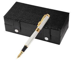 Stylo métallique promotionnel avec boîte cadeau en cuir noir
