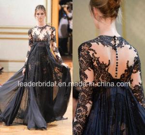 長い袖のプロムのパーティー向きのドレスの黒いレースの軽くて柔らかいZuhuaimuradのイブニング・ドレスW147194