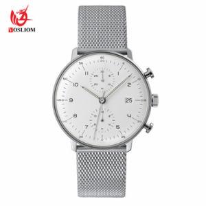 Cuir véritable épais Watch OEM de montres de l'ouest du Japon en acier inoxydable Movt Logo hommes personnalisé montre-bracelet#V693