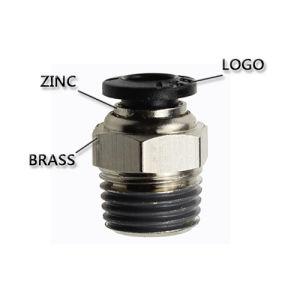 Conector neumático de alto rendimiento de la línea de aire con el botón negro PC (16-06)