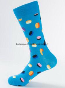 Mayorista personalizada Mujeres Hombres Stock feliz de la tripulación de calcetines de algodón de Jacquard