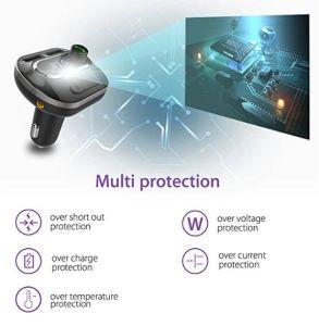 Transmisor FM Bluetooth Car Kit adaptador de radio con Aux Input/Output 3.0 QC de carga rápida e inteligente 2.4A Dos puertos USB Tarjeta TF