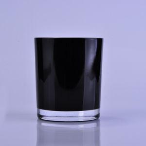 7oz portavelas de vidrio negro