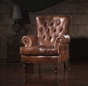 米国式の旧式で完全な実質の革肘掛け椅子、単一のSeaterのソファーの椅子