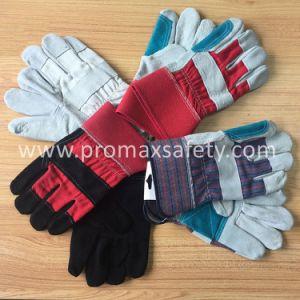 Двойной упор для рук против истирания коровы Split рабочие перчатки из натуральной кожи с маркировкой CE утвержденных