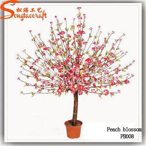 Decoração de flores de seda artificial das plantas Peach Blossom Bonsai Tree