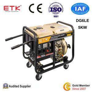 Conjunto do gerador diesel de 5 kw para utilização industrial (grandes rodas)