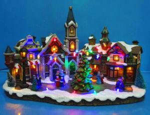 De Scène van het Dorp van Gift 14 van Kerstmis leiden '' met het Bewegen van Cijfers