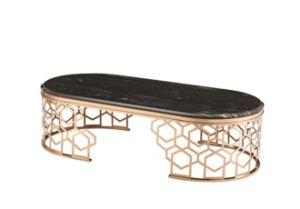 Sala de estar com mesa de café de luxo em mármore da natureza topo