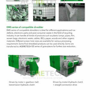 プラスチック固まりまたはフィルムサイズの減少のためのEMSシリーズシュレッダーの中間容量